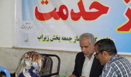 میز خدمت با حضور ریاست اداره بهزیستی سوادکوه در مصلی نماز جمعه زیراب سوادکوه